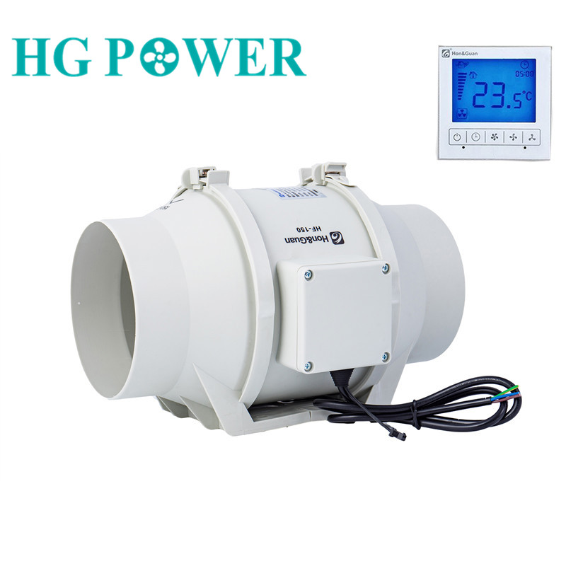 6''Timer Extractor Inline Duct Fan With Smart Wired Switch For Indoor Ventilation Exhaust Fan Blower 220V With Delay Setting