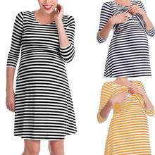 Для беременных спецодежда медицинская Camison Lactancia повседневные платья с длинными рукавами рабочая и платье полосатая пижама ночная рубашка для кормящих