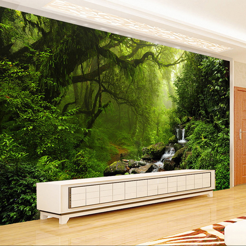 Custom Photo Mural Wallpaper Non-woven 3D Forest Landscape Wall Painting Living Room Bedroom Wall Decorative Murals Wallpaper