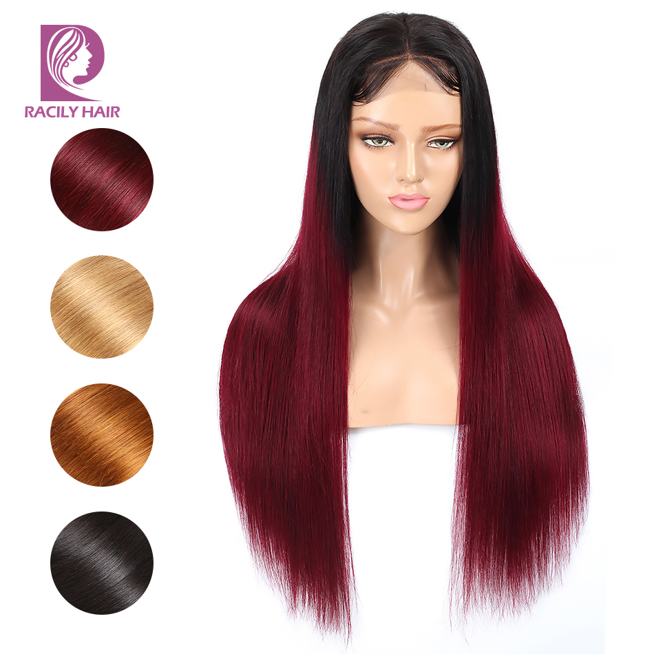 Racily Hair 4x4 Lace Closure Wig Glueless Lace Front Human Hair Wigs For Black Women Ombre