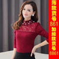 Plus Size 2015 Women Shirtsading Slim Full Sleeve Lace Stand Neck Blouse Shirt Red Wine And Cloth With Soft Nap 861