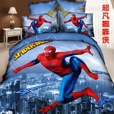 Children family of four cotton quilt sets boy cotton bedding linen three-piece Cartoon Spiderman