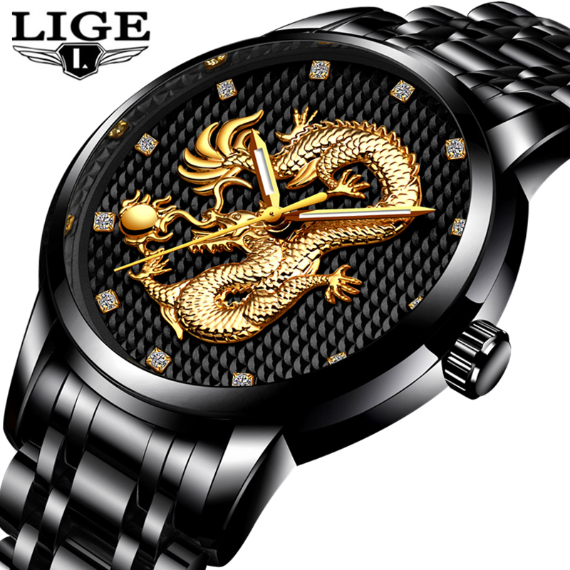 LIGE Mens Watches Top Brand Luxury Quartz Watch Men Casual Waterproof Gold Dragon Full Steel Sport Wrist Watch Relogio Masculino chenxi full gold watch mens watches top brand luxury waterproof quartz watch clock steel wrist watches for men relogio masculino