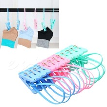 E74 12pcs Colorful Clothespins Hook Laundry Clips Multipurpose Bra Socks Hanger Pegs-107(China)