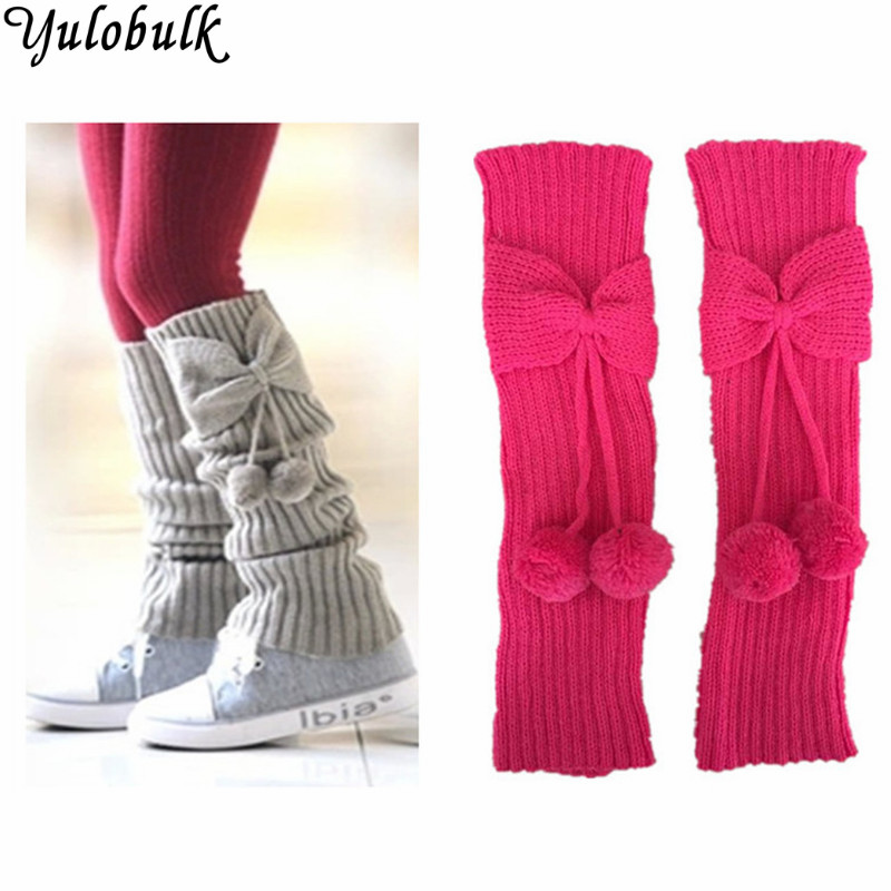 Fashion Neon Girls Leg Warmers Knit Bowknot Boot Socks Ball Boot Cuffs For Children Cute Boot Toppers Legwarmers Beenwarmers