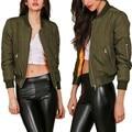2016 Autumn Winter Warm Women Coats Fashion Army Green Stand Collar Zipper Women Bomber Jackets Female Flight Suit