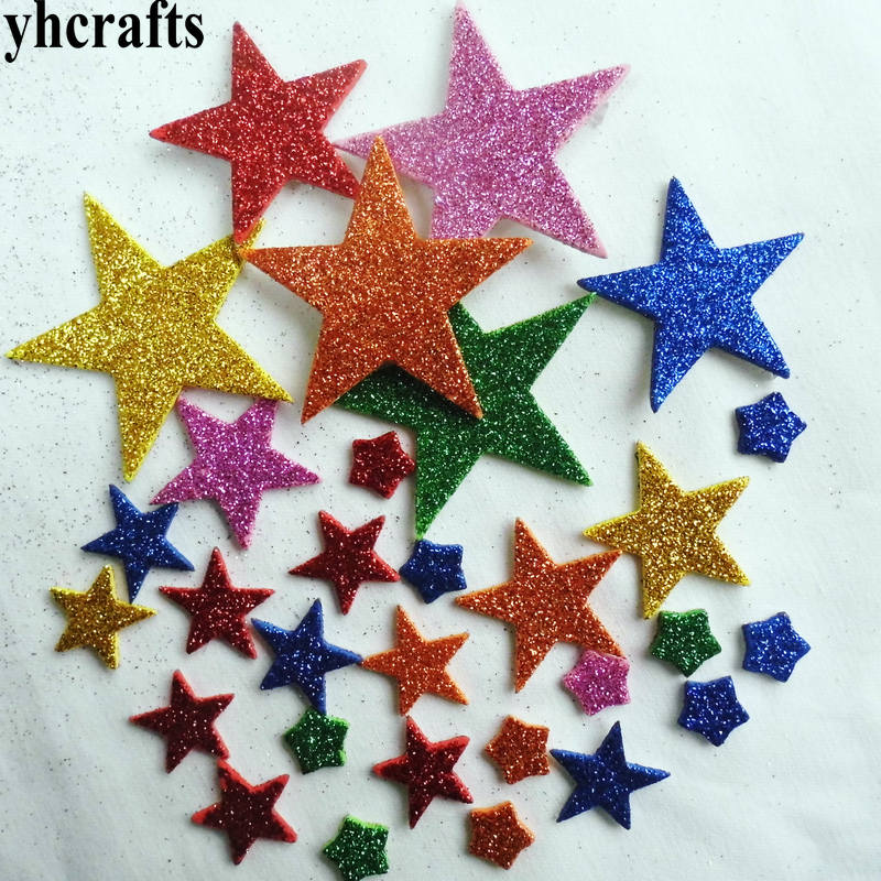 220PCS 4bags LOT Mix glitter star stickers 10 design Crafts toys Early educational toys Kindergarten arts