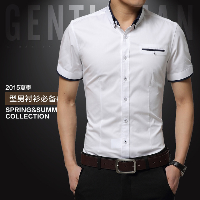 TFETTERS New Arrival Brand Men's Summer Business Shirt Short Sleeves Turn-down Collar Casual Shirt Shirt Men Shirts Big Size 5XL