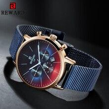 RECOMPENSA Nova Moda Relógio Cronógrafo Dos Homens Top Marca de Luxo Colorido Relógio À Prova D Água Relógio de Aço Inoxidável Relógio Dos Homens Do Esporte