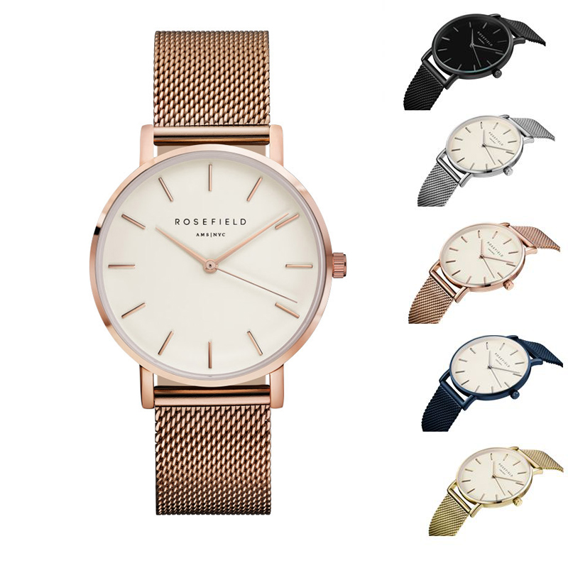 2017 New ROSEFIELD Famous Brand Casual Quartz Watch Women Metal Mesh Stainless Steel Dress Watches Relogio Feminino Clock wristwatch new famous brand binger geneva casual quartz watch men stainless steel dress watches relogio feminino man clock hot