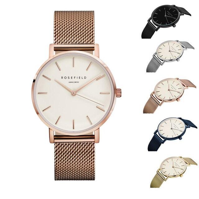 2017 Nova ROSEFIELD Famosa Marca Casual Quartz Watch Mulheres Vestido Relógios Relogio feminino Relógio do Metal Em Aço Inoxidável