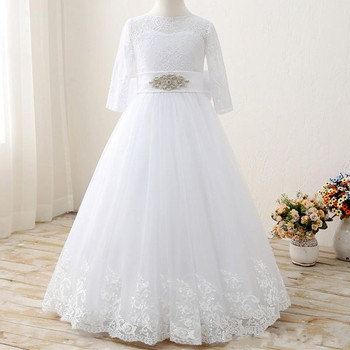 Real Photos Pure White Tulle Flower Girl Dress For Wedding Girls Pageant Gowns with Big Bow Buttons Back Appliques Custom Made