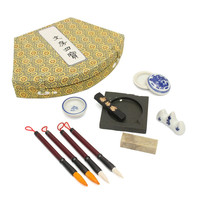 Newest Chinese Calligraphy Set Writing Pen Brushes Ink Inkstone Stamp Set With Box Painting Brushes Set