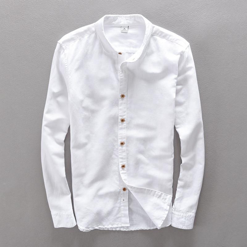 Rundkante Umlegekragen Langarm Weißes Hemd Herren Freizeithemd aus - Herrenbekleidung