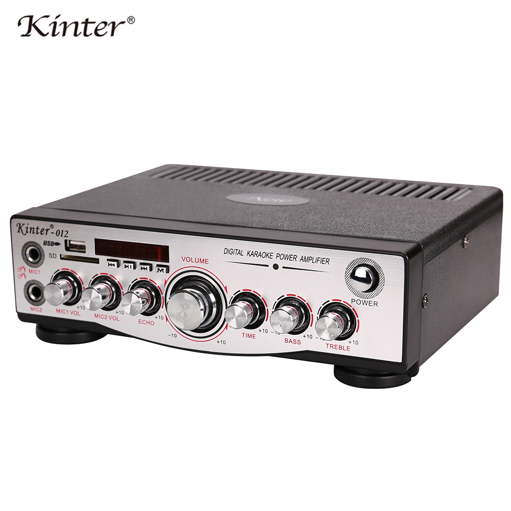 Kinter-012 power amplifier audio 2channel supply 110V power SD USB MIC input support adjust bass treble ECHO play stereo sound power play