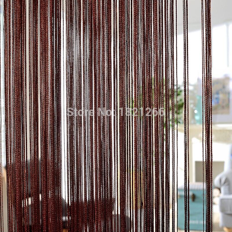 Cortina de cuerda de Color sólido 260*300 cm café gris blanco negro línea clásica cortina ventana blindada vanlanza separador de habitación