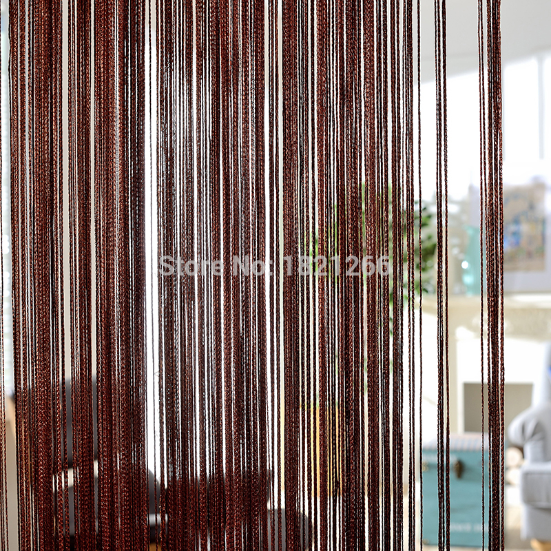 Solid Color String Curtain 300*260cm Coffee Gray White Black Classic Line Curtain Window Blind Vanlance Room Divider