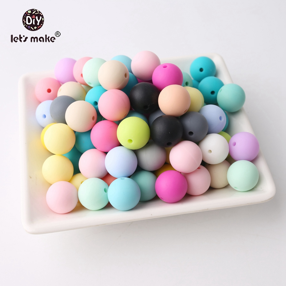 Let's Make Wholesale 1000pc 15mm Silicone Pearls Beads Food Grade Silicone Teether Making Jewelry Necklace Beads Baby Teether