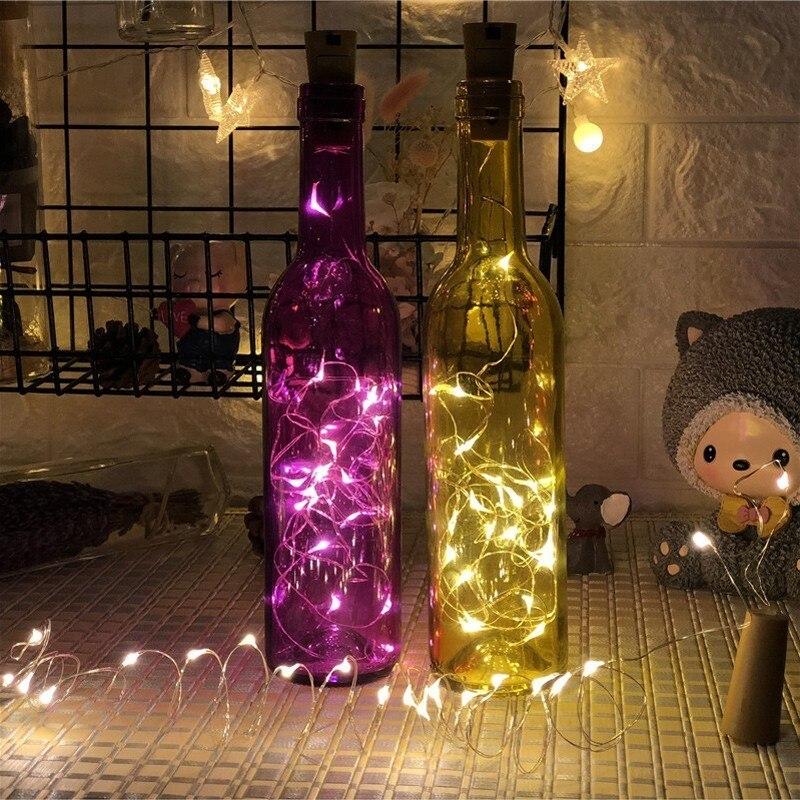 1M 2M Wine Bottles LED Lights for Empty Cork Light String Glass Bottles Stopper Fairy Lights Decorative Christmas Party Wedding in LED String from Lights Lighting
