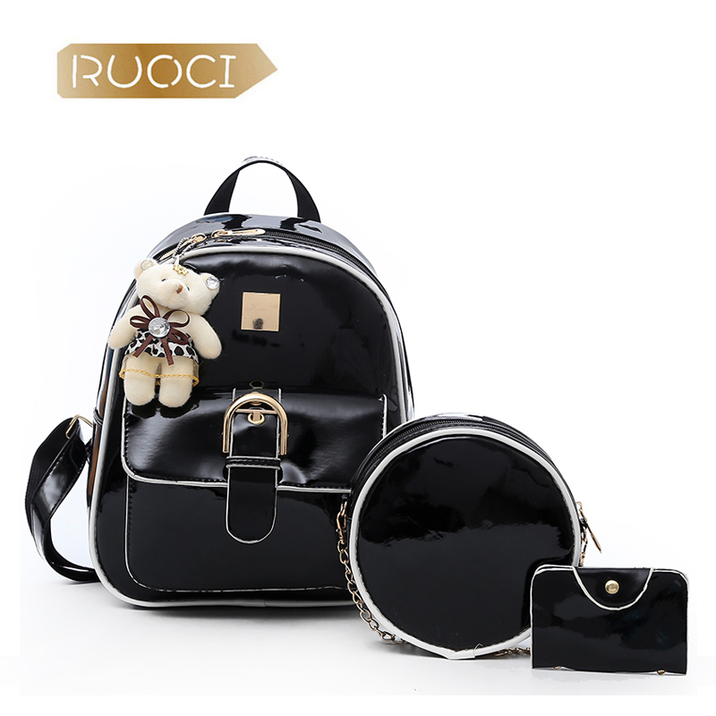 RUOCI 3Set Fashion Backpacks Women Bear Brand Leather Shoulder Bags Ladies Travel Backbag School Bag For Teenage Girls sac a dos