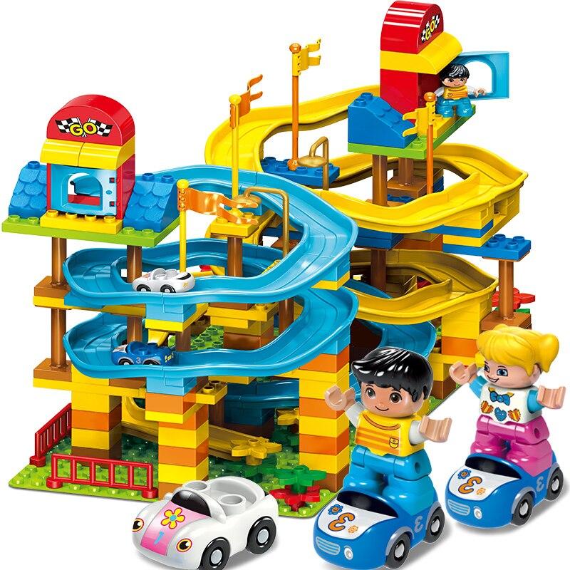 New 195pcs Car Race Run Slide Construction Building Blocks Set Creative Educational Toys Bricks for Kids Compatible Major Brand creative construction toys car toy building blocks educational children s day