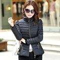 2017 novo casaco de inverno grande tamanho XXXL das mulheres parkas de algodão Coreano moda sólidos acolchoado collar Slim Down 7347
