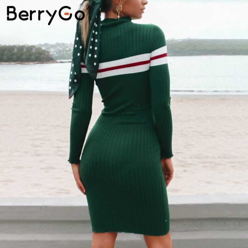 dd234b4cccd ... BerryGo Casual striped sweater knitted bodycon dress Women elegant  pullover 2018 ladies dresses Autumn winter short ...