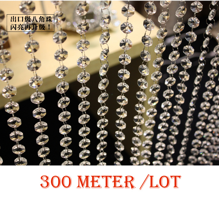 300M/Lot,Fast Delivery Free Shipping 14MM Acrylic Octagonal Crystal Garlands / Strands, Clear Color, Wedding & Party Decor