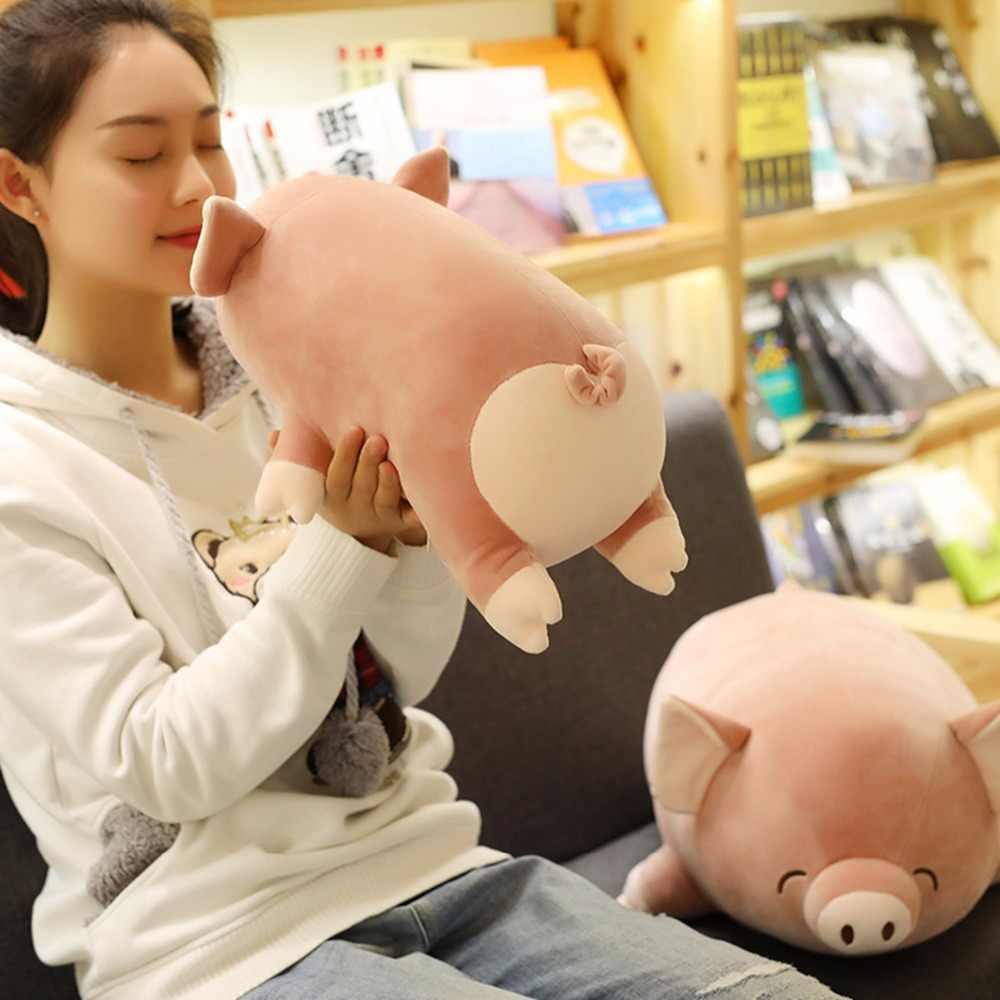 Cerca de 40 cm rosa dos desenhos animados porco travesseiro boneca de brinquedo de pelúcia macia presente de Natal s2519