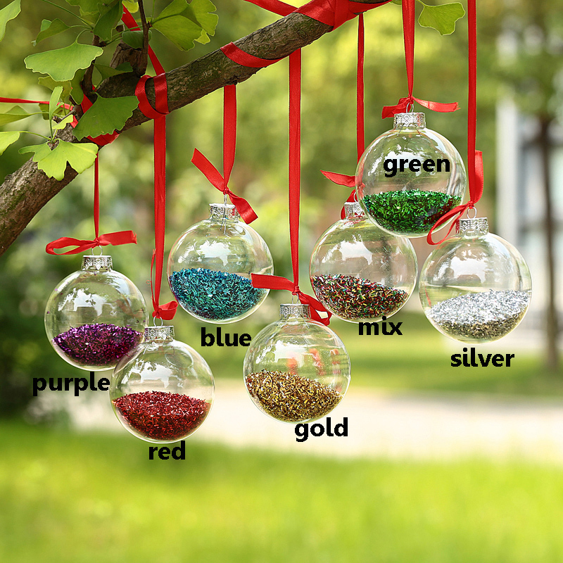 Dia8cm Clear Glass Balls + silver top + Shiny Glitter In, Glass Balls  wedding Party Festival Glass baubles Christmas ornament x6-in Ball Ornaments  from Home ...