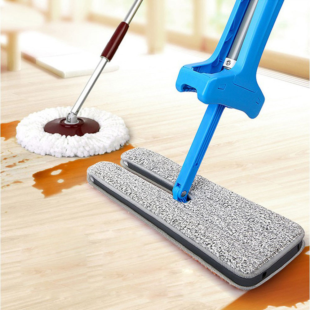 Wash-Free Double-Side Flat Mop Wood Floor Hands-Free Telescopic Washable Mop Lazy Hand Home Useful Household Cleaning Tools
