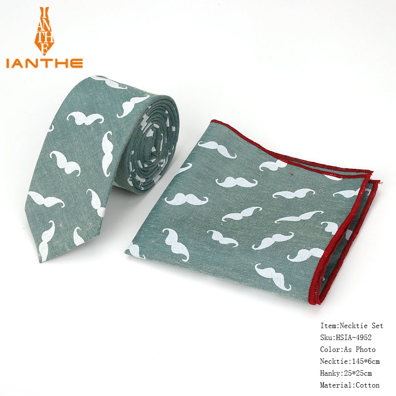 Brand New Men's Classic Mustache Narrow Neck Tie Pocket Square Sets Men Fashion Wedding Slim Flower Necktie Hankies Sets 2pcs