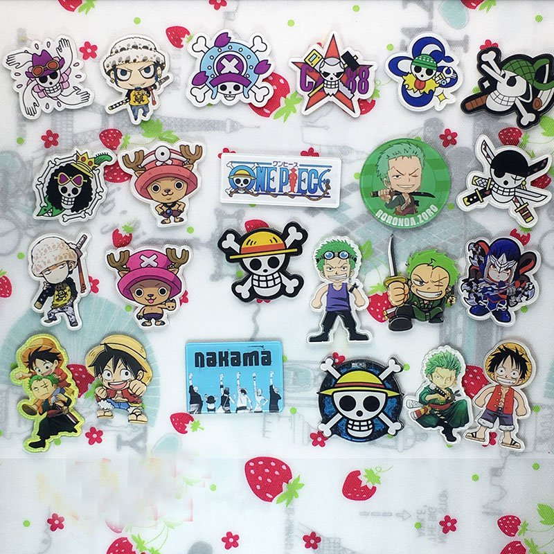 Anime One Piece Luffy Acrylic Badges Set Irregular Chopper Roronoa Zoro Cute Brooch Pins Backpack Clothes Decoration Brooches