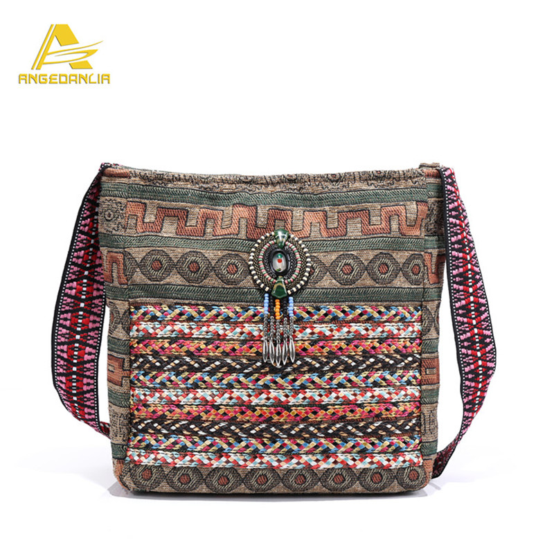 ФОТО Angedanlia national ethnic style doctor bag fabric Embroidery Bohemia design lady's Patchwork Jacquard Fabric Shoulder Bags