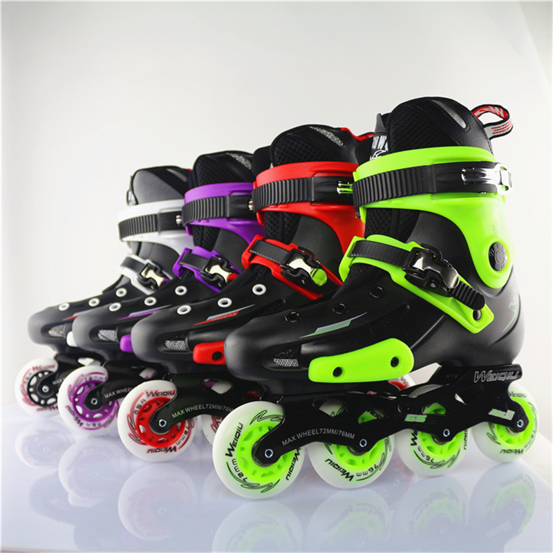 WEIQIU 5166 Inline Skate Adult's Roller Skate Shoes PU Inline Skates 4 Colors Professional Sneakers For Street Skating Men Women bauer vapor rh x50r inline skates 4 jr
