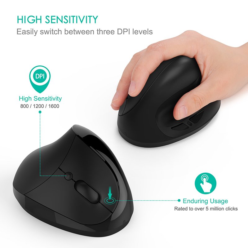 SeenDa Rechargeable Wireless Mouse 2.4GHZ Wireless Vertical Ergonomic Mouse 1600 DPI Optical Mice for Mac Laptop PC Desktop