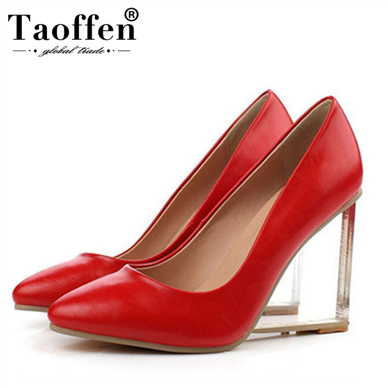TAOFFEN Size 33 42 Original Intention Sexy Women Pumps Real Leather Pointed Toe Wedges Pumps Fashion