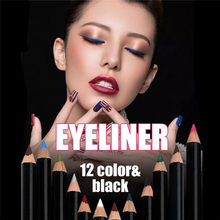 12 Pcs Eye Make Up Eyeliner Pencil Waterproof Eyebrow Beauty Pen long-lasting Eye Liner Lip Sticks Cosmetics Quick Dry Glitter(China)
