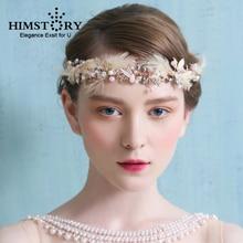 Himstory Feather Bridal Tiaras Handmade Gold Butterfly Wedding Hair Accessories Pearl Bridal Headpiece Prom Headbands Hairwear цена 2017
