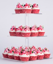YestBuy 3 Tier Maypole Square Wedding Party Tree Tower Acrylic Cupcake Display Stand (3 (15cm gap) )(12.3  Inches)