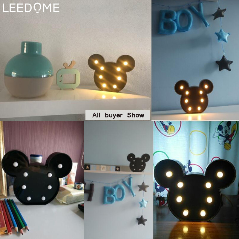 Leedome 3D Romantic Lamp LED Night Light Mickey Style Lamp Marquee Home Christmas AA Battery LED Nightlight For Home Decor-in LED Night Lights from Lights & Lighting