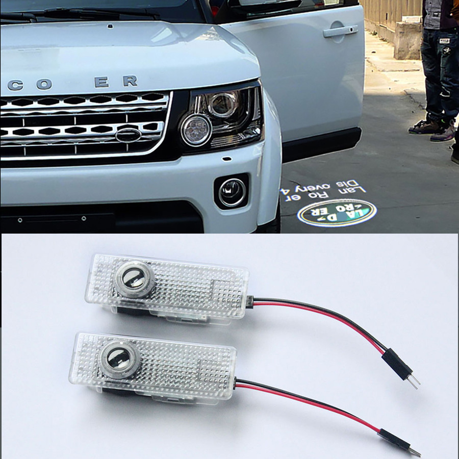 2PCs LED Car Door Welcome Light Laser Logo Door Ghost Shadow Projector Lamp For Land Rover Free Lander Range Rover Discovery