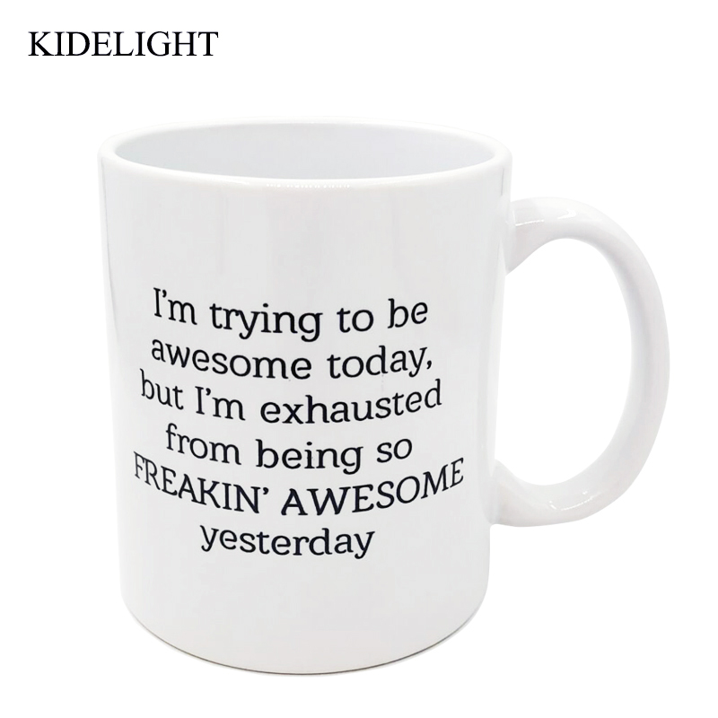 Funny Coffee Mug coffee cup 11 oz I'm Trying To Be Awesome Today Birthday Gift For Men & Women Valentines day present image