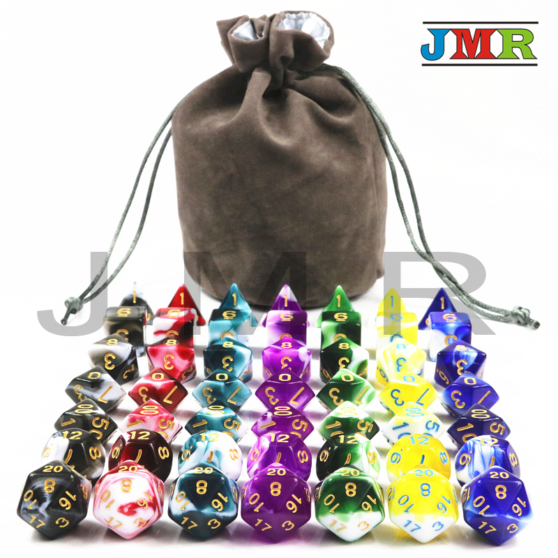 Wholesales 49 Dice Pcs High Quality Colorful Dice Set D4,D6,D8,D10,D10%,D12,D20 Dungeons and Dragons,novelty RPG Digital Dice