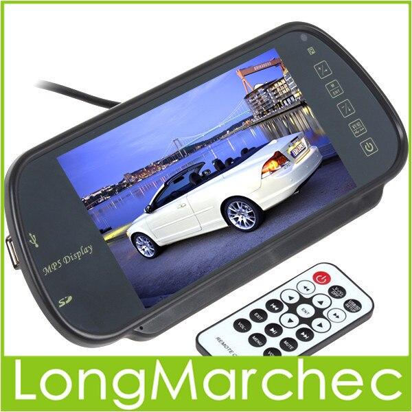 """Venda 2 PCS 7 """"TFT LCD Monitor Espelho Retrovisor Do Carro MP5 Tela USB, SD, 2-Ch Entrada de Vídeo Para Câmera de Visão Traseira Reversa"""