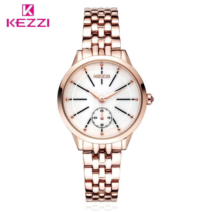 Prix pour KEZZI Marque Lady Quartz Montre Femmes Mode Classique Horloge Indépendant Secondes Cadran de Haute Qualité En Acier Inoxydable Bracelet Montres