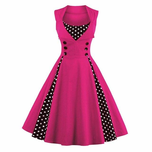 נשים ללא שרוולים 7 צבעים מוצקים בציר שמלת הדפסת נקודת כפתור נדנדה מסיבת Feminino Vestidos בתוספת גודל S ~ 4XL 50 s שמלות