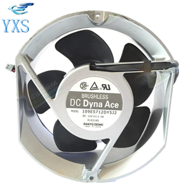 109E5712DY5J2 DC 12V 2.3A 3 Wires 17251 17cm 172*150*51mm 3800RPM Double Ball Bearing Cooling Fan 2 pcs gdstime tow ball bearing 48v 170mm x 50mm circle cooler metal case industrial dc cooling fan 172mm x 51mm 2pin 17cm 17251