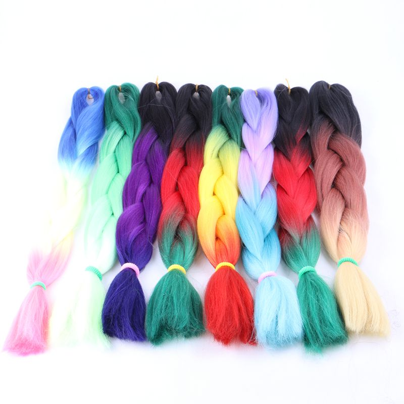 Luxury For Braiding Green Yellow Orange Synthetic Ombre Braiding Hair 10pcs 24 100g pc African Crochet