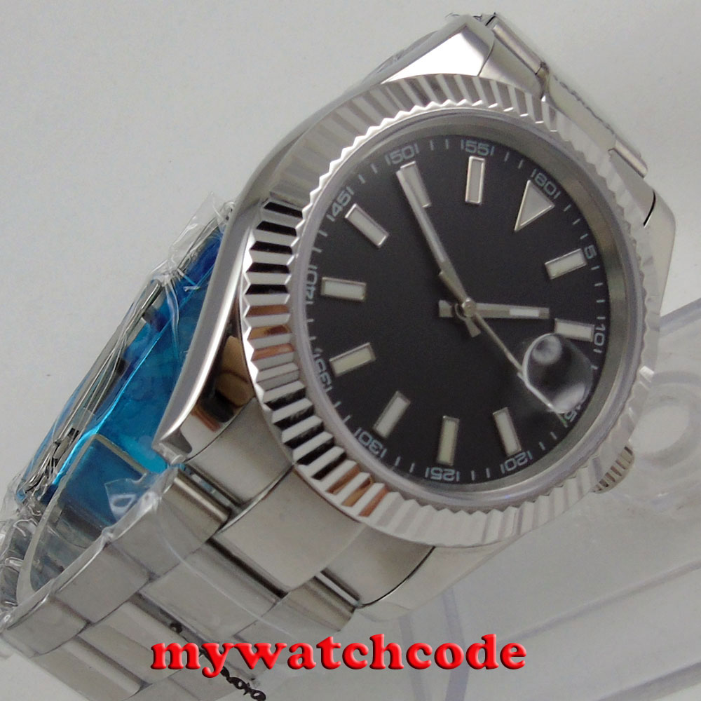 40MM parnis black dial date widnow stainless steel strap vintage automatic movement mens watch P24 цена и фото